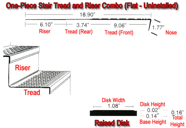 Orbitread One Piece Rubber Stair Tread And Riser Combo By